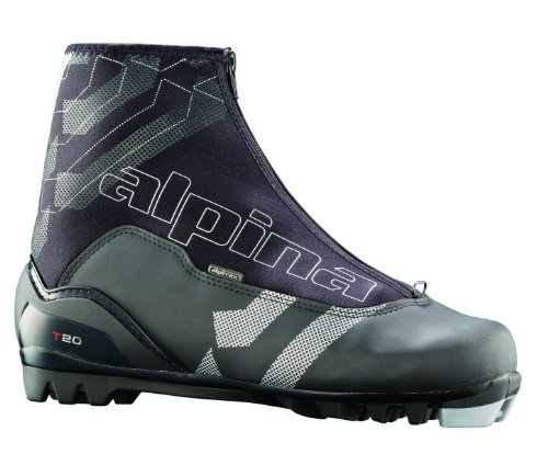 (Alpina T20 Cross-Country Nordic Touring Ski Boots with Zippered Lace Cover, Black, 49)