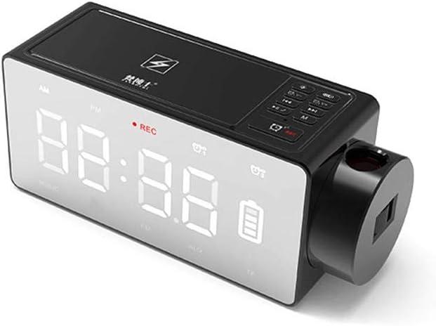 liuxi Despertador digital LED con proyección de altavoz Bluetooth, alarma doble, radio FM, puerto de carga USB, repetición