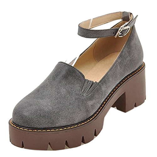 TAOFFEN Women's Chunky Heel Court Shoes Gray 8vWsBcAyVH