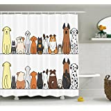 Ambesonne Dog Lover Decor Shower Curtain Set By, Multicultural Dog Family In A Row From Back And Front Views Companionship Comic Art, Bathroom Accessories, 69W X 70L Inchesyellow Brown