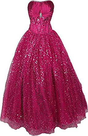 Strapless Pageant Sequin Mesh Ball Gown Prom Dress Full Length, 2X, Fuchsia