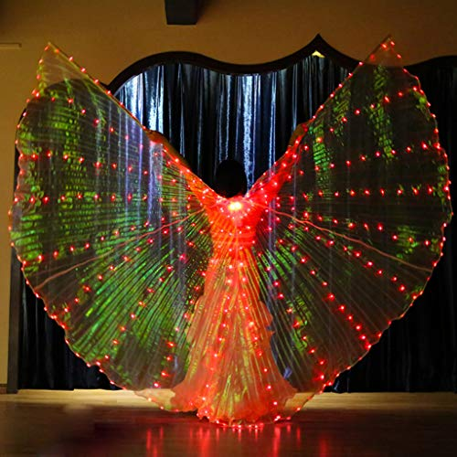 Flurries  LED Glow Angel Isis Wings - Belly Dance Costume Cloak - Colorful Butterfly Wings - Performance Clothing Cosplay Prop with Sticks for Carnival Halloween Shows - Light Up The Stage (Red)