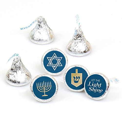 Happy Hanukkah - Chanukah Party Round Candy Sticker Favors - Labels Fit Hershey's Kisses (1 Sheet of 108)