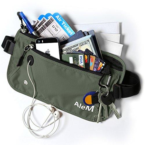 Travel RFID Blocking Money Belt - Hidden Wallet & Passport Holder (Ash) by AleM