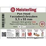 Meisterling® Pan – Head FassadenSchrauben 3,5 x 55 mm in V2A Edelstahl / INOX, blank, 2/3 Grobgewinde, mit Torx-Aufnahme T-20, (pro 100 Stück inkl. 1 Bit), 3,5 x 55 mm V2a