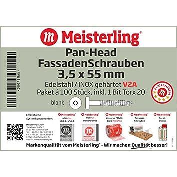 mit Flachkopf V4a Edelstahl Meisterling/® FassadenSchrauben 5,5 x 25 mm