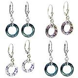 Sterling Silver Donut Swarovski Elements Leverback Dangle Earrings