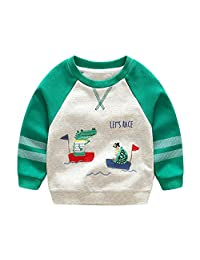 Anbaby Boy's Kids Long Sleeve Dinosaur T-shirts Pullover Sweatshirts