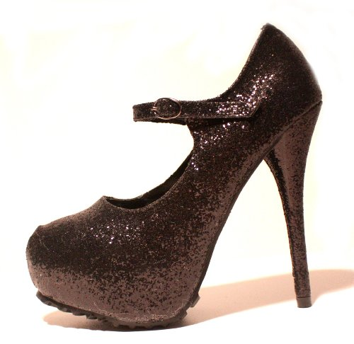 EROGANCE Glitter Plateau High Heels Pumps Schwarz EU 36 - 46 / A4117 Black