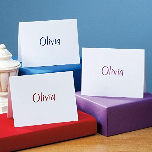 Name Personalized Note Card Stationery - Elegant Personalized Note Card Set - (3 color choices) - 24 cards with envelopes, 4-1/4