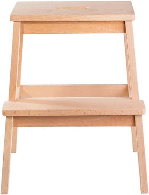 JIAJUAN Taburete Escalera Plegable Madera Paso Taburete 2 Pasos Multifuncional Portátil Uso Dual Casa, Haya, 39x43x50cm Escalera de Mano: Amazon.es: Hogar