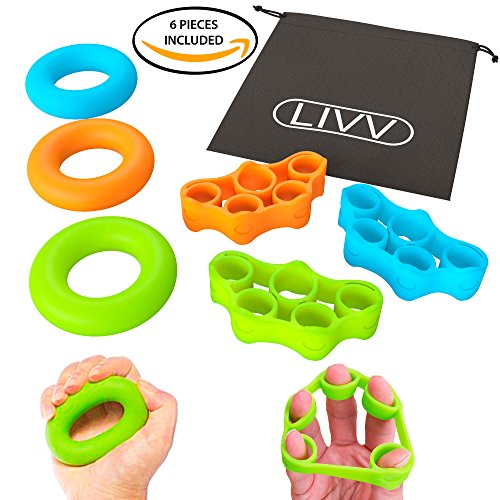 Hand Trainer Kit (LIVV FITNESS Premium Finger Stretcher and Grip Strength Trainer Kit - Strengthens Fingers, Forearm, Wrist and Grip - 3 Level Finger Resistance Bands and Hand Grip Workout Rings with Carry Bag (6 Pack))