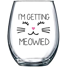 I'm Getting Meowied Funny Wine Glass 15oz - Unique Wedding Gift Idea for Fiancee, Bride, Bridal Shower Gifts - Engagement Party Gift for Her - Evening Mug