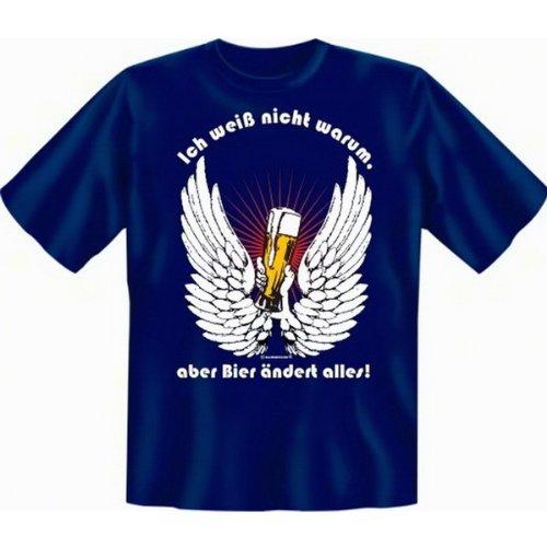 Fun T-shirt Ich weiss nicht warum, aber Bier ändert alles! Fb royal blau