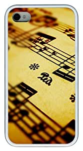 Awesome Music notes PC hard Case Cover for iPhone 4 and iPhone 4s ?¡ìC White