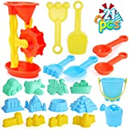 Qutasivary 22pcs Beach Sand Toys Set for Kids with Assembled Sand Water Wheel, Beach Bucket, Watering Can, Sho