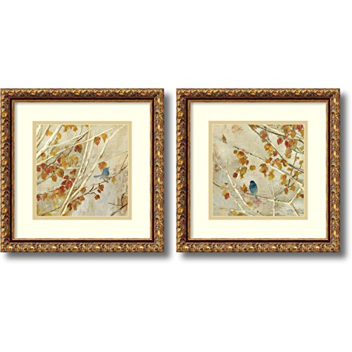 Framed Art Print, 'Singing, gold frame- set of 2' by Asia Jensen: Outer Size 14 x 14