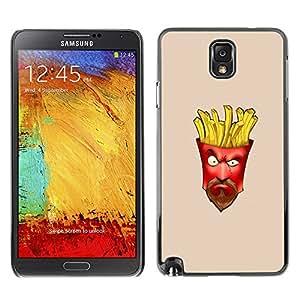 Qstar Arte & diseño plástico duro Fundas Cover Cubre Hard Case Cover para SAMSUNG Galaxy Note 3 III / N9000 / N9005 ( Junk Food French Fries Moustache Beard Man)