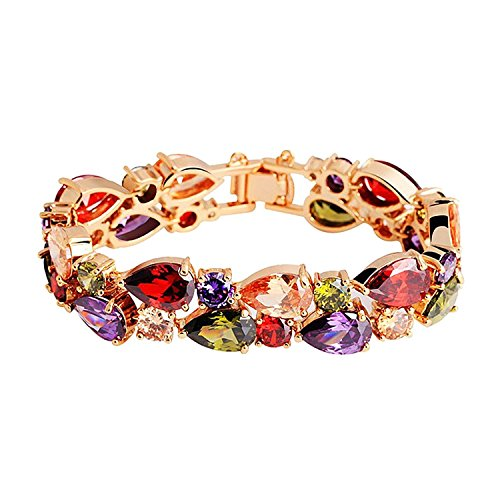 BAMOER 18K Rose Gold Plated MultiColor Sparkling Cubic Zirconia Stones Luxury Link Bracelet for Women Girls 17 CM (Multi Color Gemstone Heart)