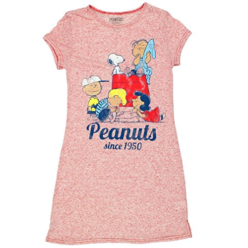 Peanuts Snoopy Juniors Womens Nightshirt Pajamas (Teen/Adult) (Medium, Peanuts Red) -