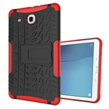 "MOONCASE Galaxy Tab E 9.6-inch Case Built-in Kickstand Hybrid Armor Case Detachable 2 in 1 Shockproof Tough Rugged Dual-Layer Case Cover for Samsung Galaxy Tab E 9.6"" Red"