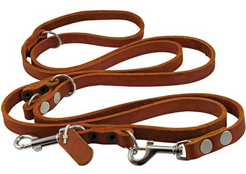 Dogs My Love 6-Way European Multifunctional Leather Dog Leash, Adjustable Schutzhund Lead Orange 49