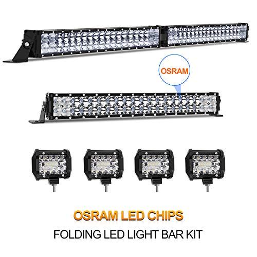 - LED Light Bar Kit, Rigidhorse 28000LM 42 Inch + 22 Inch Flood Spot Beam Combo White LED Light Bars + 4PCS 4