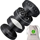 Antonki Herb Grinder, 2 Inch Fashion Spice Herb Grinder [ 2020 Upgraded Version ] with 4 Layers, 24 Sharp Grinding Teeth for Men, Women - Black - with Carrying Pouch