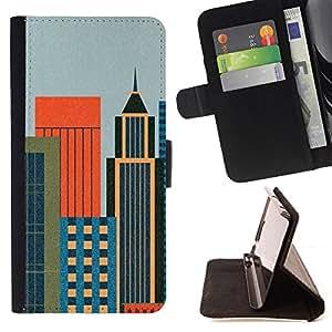 BullDog Case - FOR/LG Nexus 5 D820 D821 / - / Minmalist Cityscape /- Monedero de cuero de la PU Llevar cubierta de la caja con el ID Credit Card Slots Flip funda de cuer