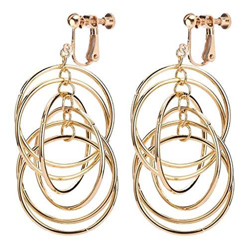 (Circle Link Drop Linear Swirl French Wire Clip on Earrings Twisted Drop Twisted Triple Drop Earrings)