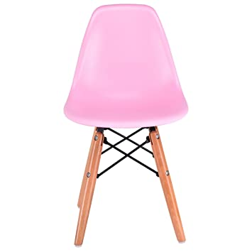 AyaMastro Pink Kids Dining Armless Chair Wood Dowel Legs Molded Plastic Seat  W/Floor Protectors