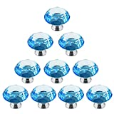 abcGoodefg 10 PCS 40mm Blue Diamond Shape Crystal knob Glass Bathroom Kitchen Cabinet Pull Handle Cupboard Drawer Knob with Screws for Furniture Kitchen Cupboard Drawer Dresser Pull (Lake Blue)