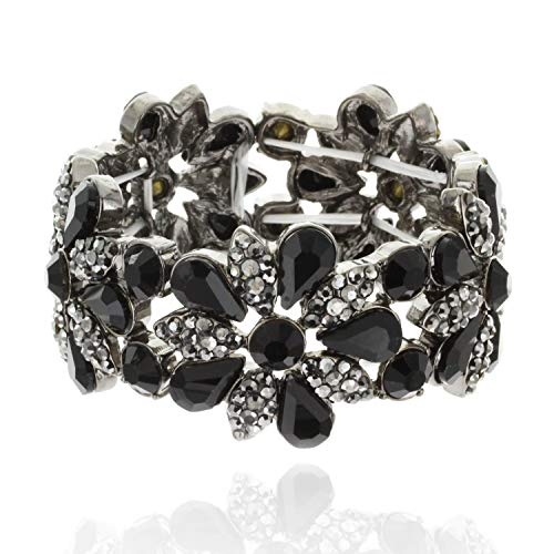 SP Sophia Collection Women's Floral Austrian Crystal Bangle Stretch Rhinestone Bracelet in ()