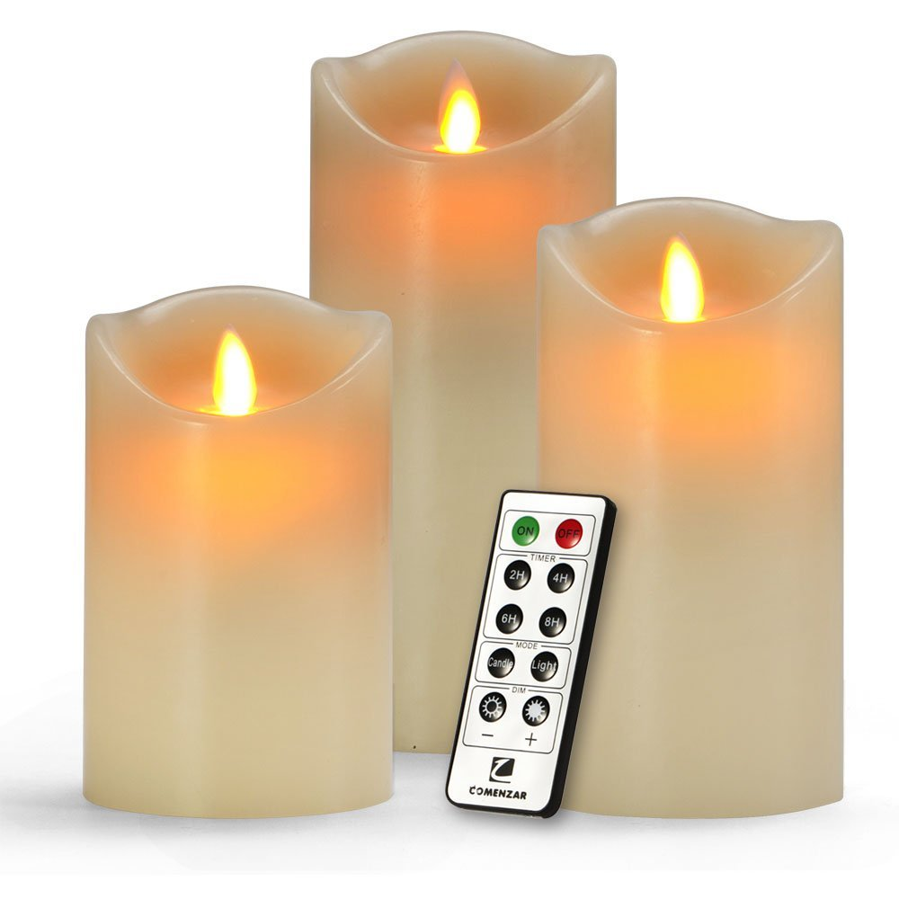 Flameless Candles, Battery Candles Set of 3(H 5''6''7''x D3'') Battery Operated Candles Real Wax Pillar With Remote Timer By Comenzar (Ivory)