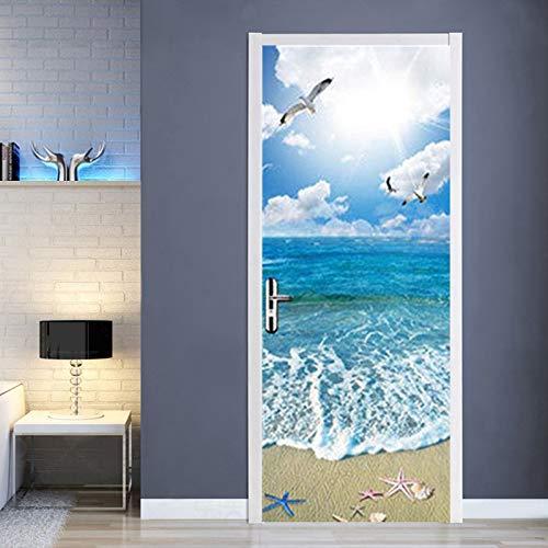 FLFK 3D Sunshine Ocean Beach Self-Adhesive Door Murals Wall Sticker Home Decal 30.3x78.7