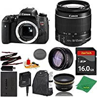 Great Value Bundle for T6S DSLR – 18-55mm STM + 16GB Memory + Wide Angle + Telephoto Lens + Backpack