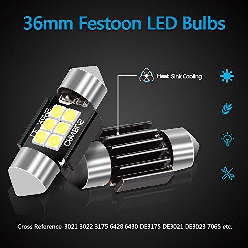 LEDKINGDOMUS 4 Pcs 36mm 1.5 Inch 6 SMD 3030 Canbus Error Free Festoon LED Bulb for Interior Car Lights Dome Map License Plate Trunk Light 6411 6413 6418 DE3423, Color White by LEDKINGDOMUS (Image #1)