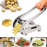 Korie Stainless Steel French Fry Cutter with 2 Interchangeable Cutting Blades for Potatoes, Carrots, Cucumbers and more