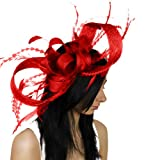 Large Brown Paper Packages and Feathers Ascot Fascinator Hat With Headband - Red