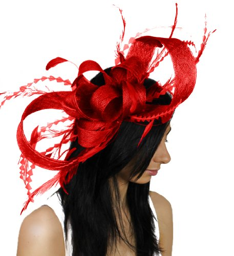 Large Brown Paper Packages and Feathers Ascot Fascinator Hat With Headband - Red by Hats By Cressida
