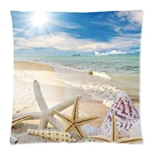 CCTUSGSH Beach Shell Starfish Nature Design Cotton Throw Pillow Case Cushion Cover 18 X 18 Inches One Side