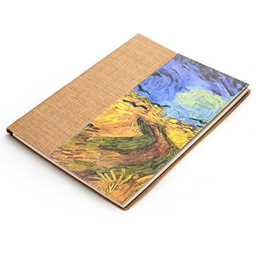 Gumind Sketch book,Unique Weaving material cover Sketch pad 8.5'X11'-50 Sheets (Wheatfield with Crows)