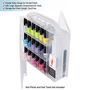[Best Gift] MAKARTT Universal Nail Polish Holder for 36 bottles with Large Separate Compartment for Tools, Space Saver