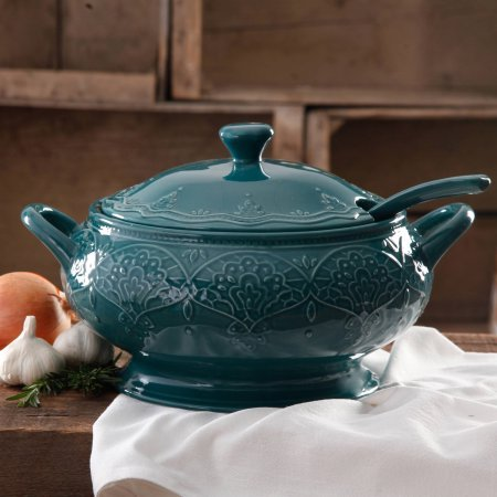 The Pioneer Woman Farmhouse Lace Tureen with Lid and Ladle - Ocean Teal (Terrines Soup)