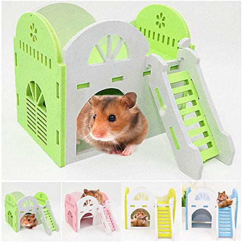 OLIVE US-House Bed Cage Nest Small Animal Pet Hamster Hedgehog Guinea Pig Castle Toy Gift(Green)