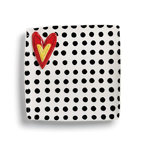 Dots and Heart Black and White 11 x 11 Glossy Stoneware Square Platter