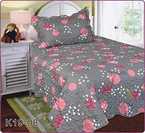 Linen Plus Twin Size 2pc Quilted Bedspread Set for Girls Paris Eiffel Tower Bows Grey Pink New by Linen Plus (Image #1)
