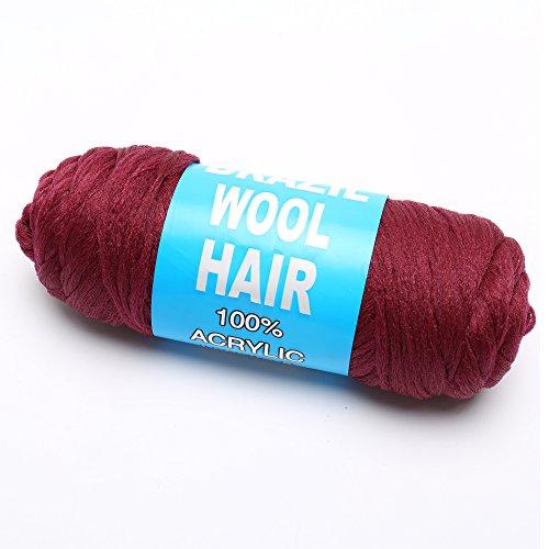 100% Brazilian Wool Hair for Braids/Twist/Wraps (Wine Red) (Twist Red Wine)