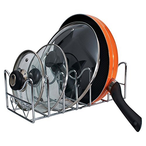Value Saving 6 Compartments organizer rack, pot lid holder, cutting board holder,fry pan holder, Chrome finish
