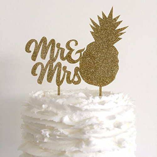Mr Mrs Pineapple Gold Glitter Wedding Cake Topper